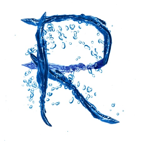 Alphabet letter made from water splash  Letter R photo