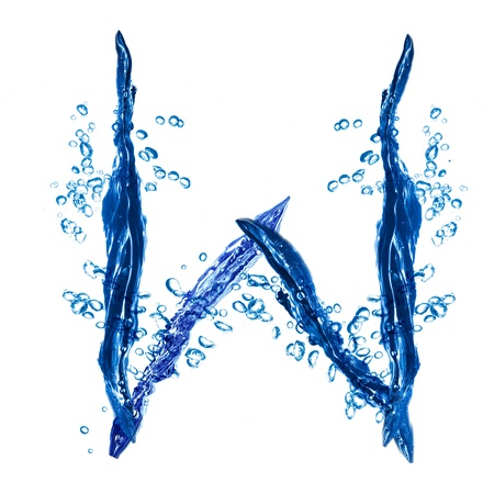 Alphabet letter made from water splash  Letter W photo