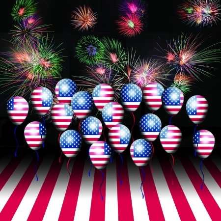 American Flag balloon and fireworks  4th of July, Independence day  USA  Stock Photo - 13974033