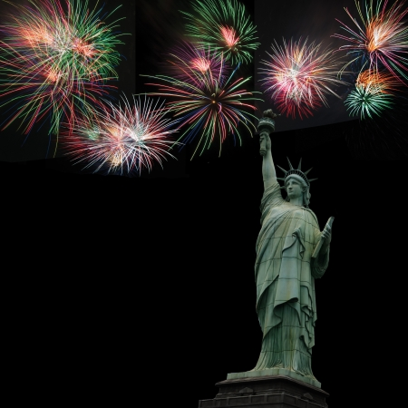 Statue of liberty with fireworks  4th of July, Independence day  USA Stock Photo - 13973906