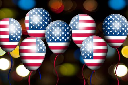 American Flag balloon  4th of July, Independence day  USA  Stock Photo - 13974009
