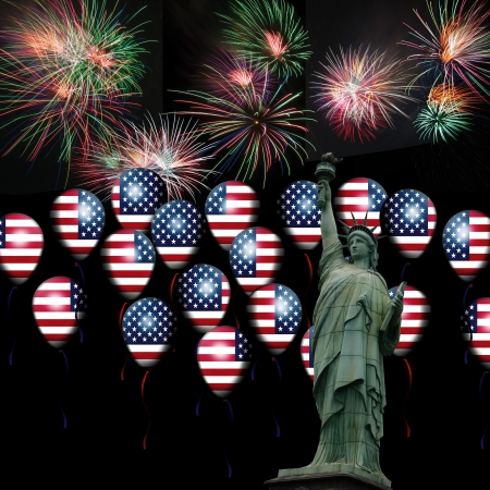 American Flag balloon with Statue of liberty  4th of July, Independence day  USA Stock Photo - 13974032