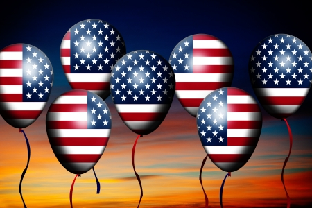 American Flag balloon  4th of July, Independence day  USA Stock Photo - 13974031