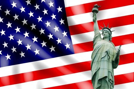 us grunge flag: Independence Day, 4th of July, with american flag and statue of liberty Stock Photo