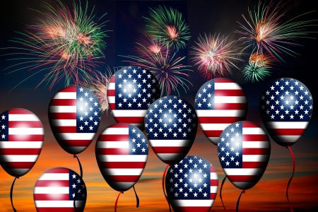 Independence Day, 4th of July, with american flag balloon and fireworks photo