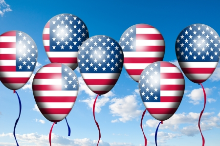 Independence Day, 4th of July, with american flag balloon photo