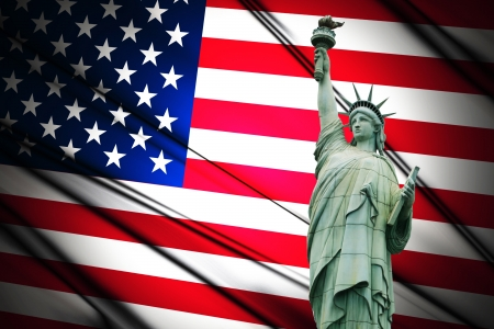 statue of liberty: Independence Day, 4th of July, with american flag and statue of liberty Stock Photo