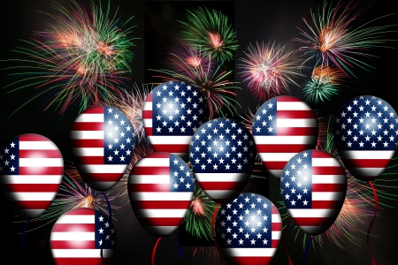 Independence Day, 4th of July, with american flag balloon and fireworks Stock Photo - 13791772