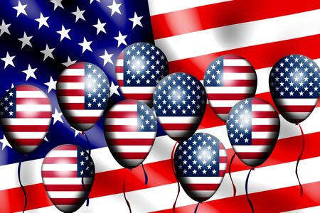 united states flag: Independence Day, 4th of July, with american flag balloon Stock Photo