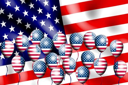 Independence Day, 4th of July, with american flag balloon Stock Photo - 13791765