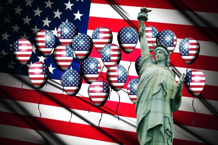 Independence Day, 4th of July, with american flag and statue of liberty and balloon Stock Photo - 13791770