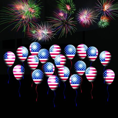 Independence Day, 4th of July, with american flag balloon and fireworks Stock Photo - 13791767