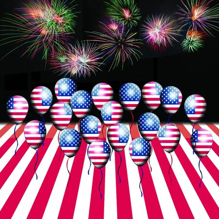 Independence Day, 4th of July, with american flag balloon and fireworks Stock Photo - 13791769