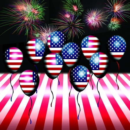 Independence Day, 4th of July, with american flag balloon and fireworks Stock Photo - 13791768