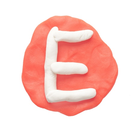 Alphabet letter using plasticine and clay  Letter E Stock Photo