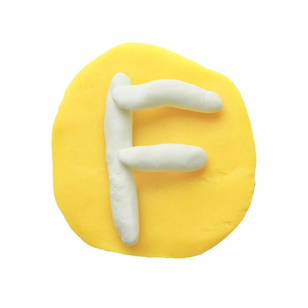 Alphabet letter using plasticine and clay  Letter F Stock Photo - 13596632
