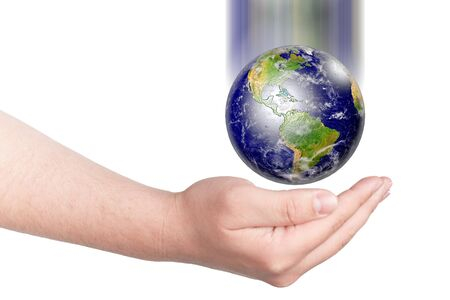 Earth drop on hand  Concept for saving earth Stock Photo - 13974002