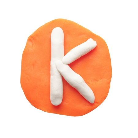 Alphabet letter using plasticine and clay  Letter K Stock Photo - 13596635