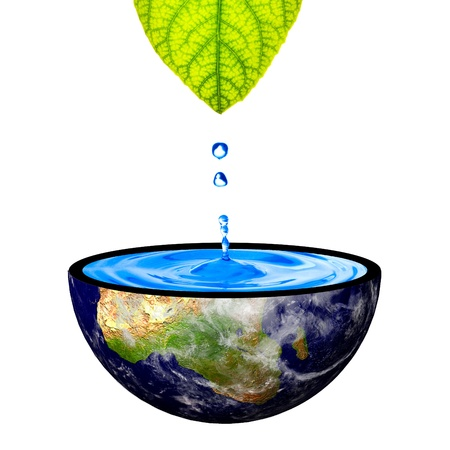 Water drop from green leaf on earth  concept for saving earth photo