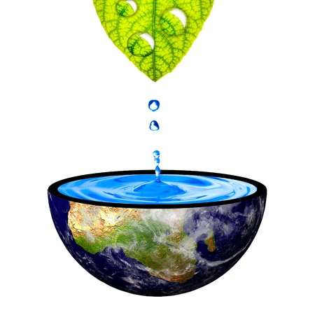 Water drop from green left to the earth bowl  Concept for earth restoration photo