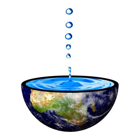 conservacion del agua: Gota de agua sobre el concepto de la tierra recipiente para la tierra de restauración