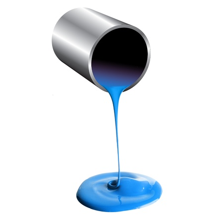 3d render of paint bucket with blue paint Stock Photo - 13791776