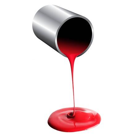 3d render of paint bucket with red paint photo