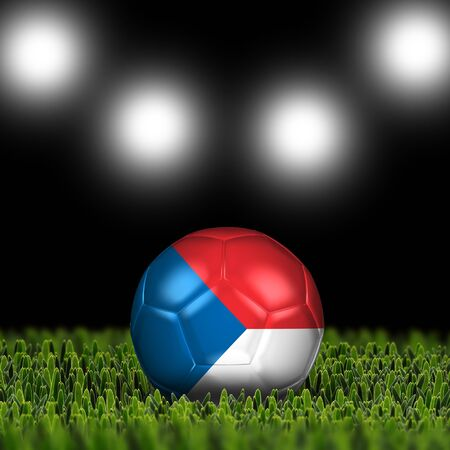 National Flag on the soccer ball on green grass with stadium lighting  Country Czech Republic photo