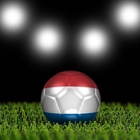 National Flag on the soccer ball on green grass with stadium lighting  Country Netherlands photo