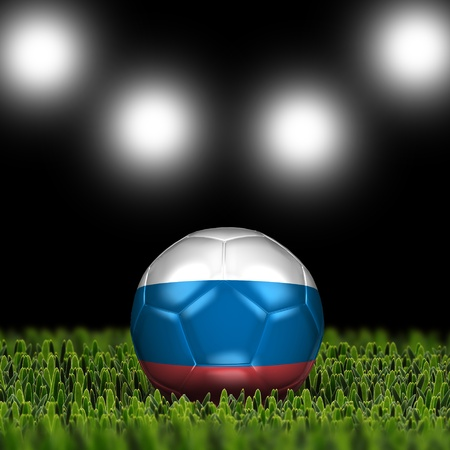 National Flag on the soccer ball on green grass with stadium lighting  Country Russia  Stock Photo - 13706039