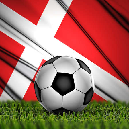 Soccer ball on grass with National Flag  Country Denmark photo