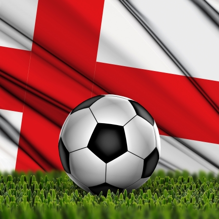 Soccer ball on grass with National Flag  Country England photo
