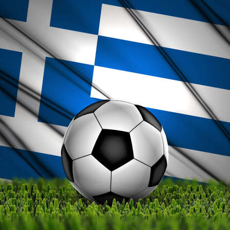 Soccer ball on grass with National Flag  Country Greece photo