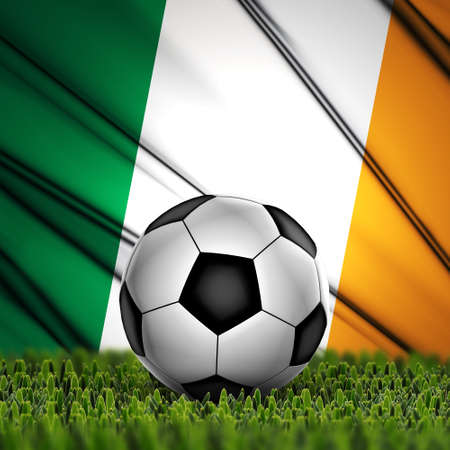 Soccer ball on grass with National Flag  Country Republic of Ireland photo