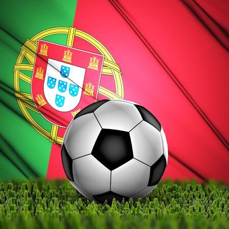 Soccer ball on grass with National Flag  Country Portugal photo