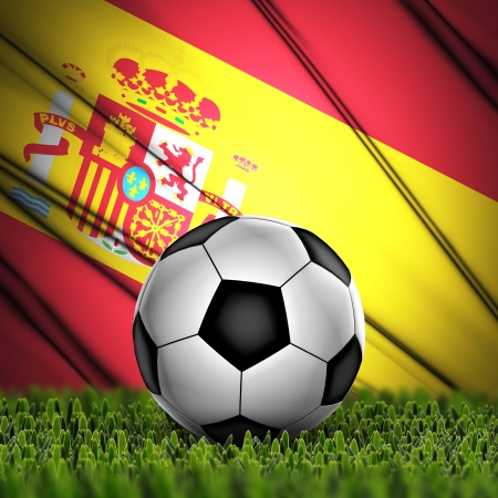 Soccer ball on grass with National Flag  Country Spain photo