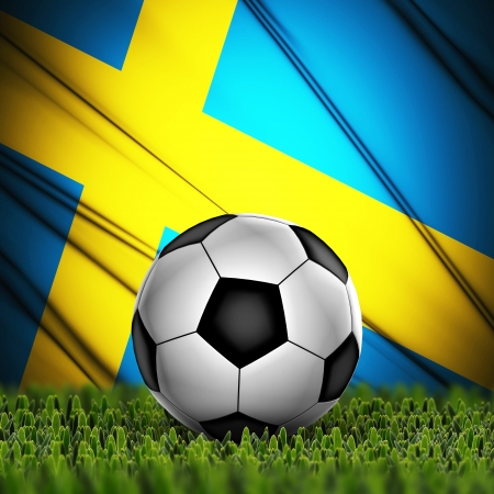 Soccer ball on grass with National Flag  Country Sweden photo