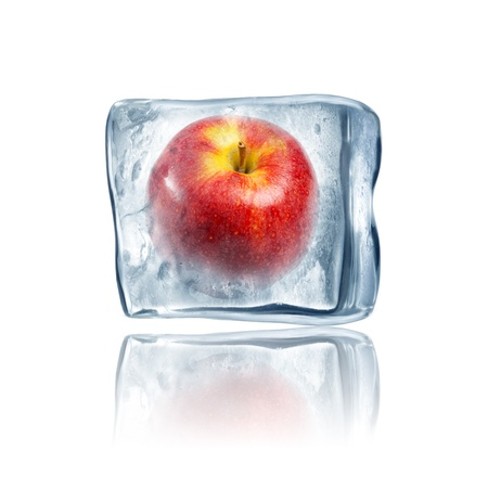 Red Apple frozen inside big ice cube Stock Photo - 14684697