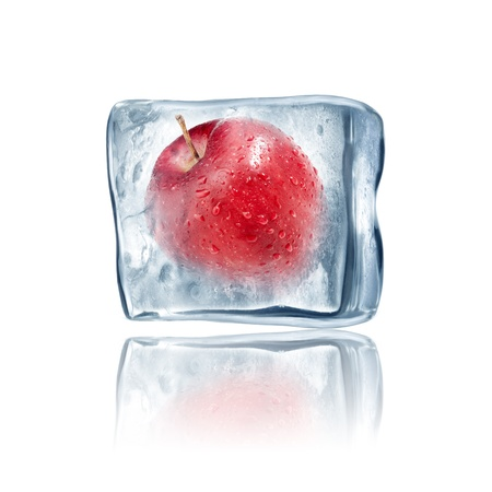 Red Apple frozen inside big ice cube photo