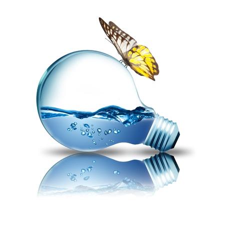 bombilla: El agua en el interior de la bombilla con la mariposa en la parte superior Foto de archivo