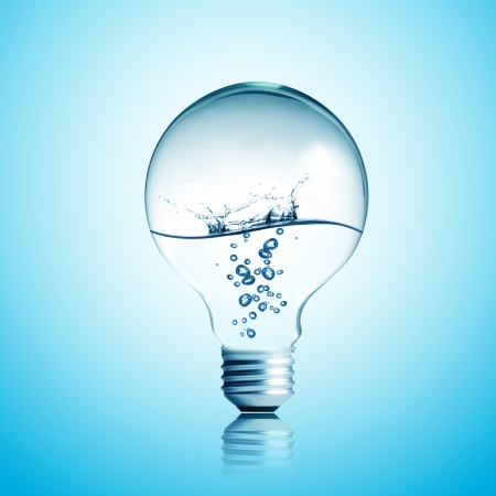 water recycling: water splash and bubble inside light bulb