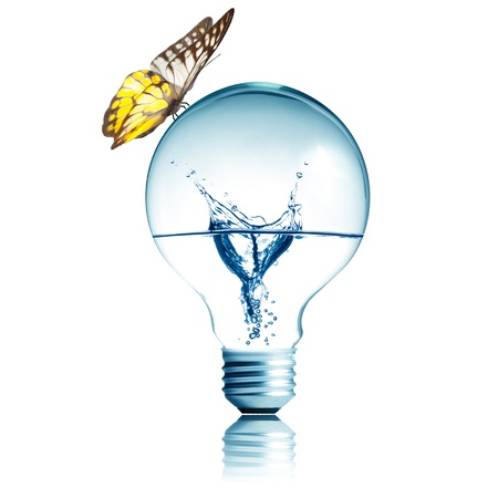 Water inside light bulb with butterfly on top photo