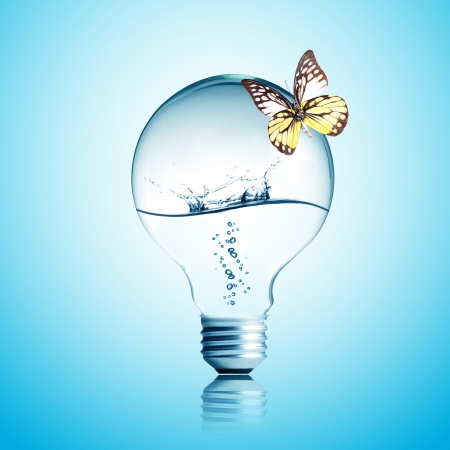 water recycling: Water inside light bulb with butterfly Stock Photo