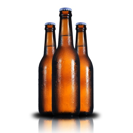 Three Beer bottle on white background photo