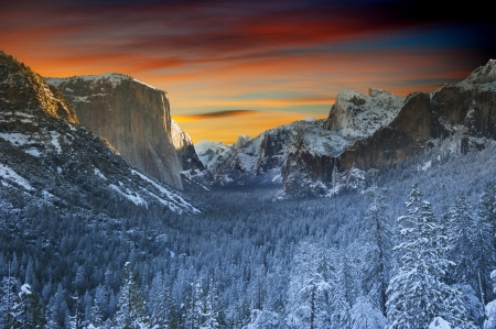 national forest: Yosemite National park in winter time