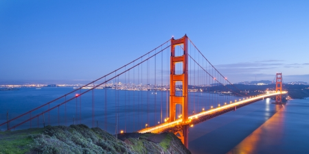 Panorama shot of Golden Gate bridge at night