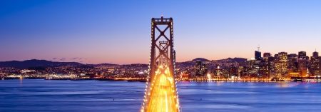Panorama of Bay bridge after sunset  San Francisco, USA   photo