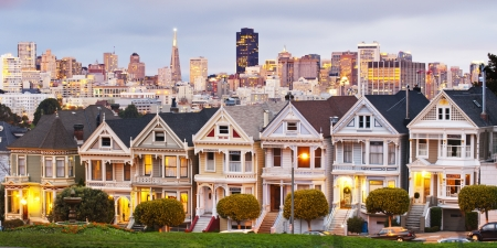 Panorama shot of Alamo square, San Francisco, California  USA photo