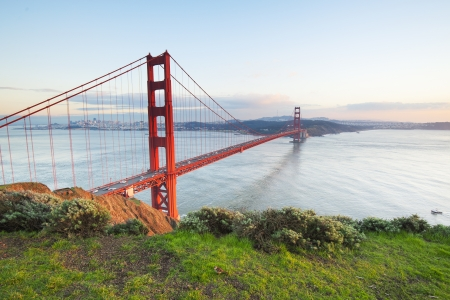golden gate bridge: Golden Gate bridge in clear blue sky with green grass as foreground  San Francisco, USA   Stock Photo