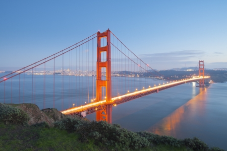 Golden Gate bridge after sunset  San Francisco, USA   photo